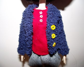 Dark blue with buttons fuzzy fluffy cardigan sweater for Pullip
