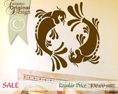 SALE Koi Wall Decal - Pisces Yin Yang Wall Decal, Koi Fish Art, Asian Wall Decal Art, Asian Decor, Bathroom Wall Decal