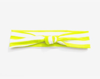 Yellow and White Stripe Lightweight Jersey Knit Top Knot Headband Fits Baby to Toddler Size