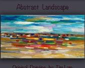 "Impasto Texture Oil painting --- Motion Blur Landscape -- Original Huge simplicity art  Abstract by Tim Lam 48"" x 24"""