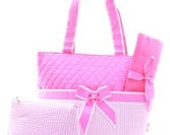 Pink Quilted Seersucker Diaper Bag Set Changing pad..Personalize it for FREE... at no charge.... WOW What a Deal