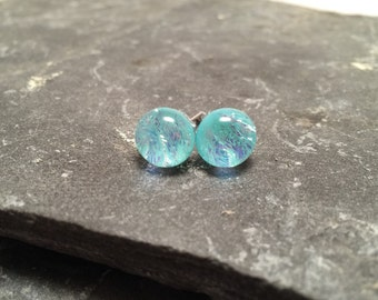Dichroic glass jewelry, fused glass, handmade dichroic glass, dichroic glass earrings, dichroic glass, Fused Glass stud earrings