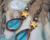 Tears in the Rain Earrings~ Copper Plated Glass Teardrops, Haematite Stars and Rainbow Haematite Rounds on Antique Gold Earwires