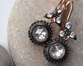 Madeleine Earrings  sterling pink gold victorian antique inspired rose cut diamond look