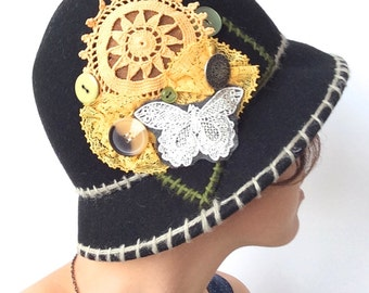 Black Felt Upcycled Bucket Hat/Cloche with Lace, Crochet Doilies, and Vintage Buttons