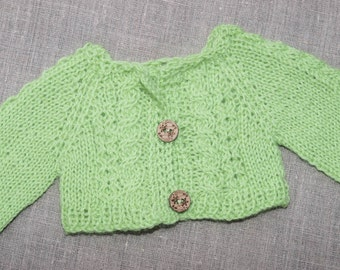 Waldorf Doll Clothes -Waldorf Doll Lime Green Colour Sweater , fit 15 inch dolls