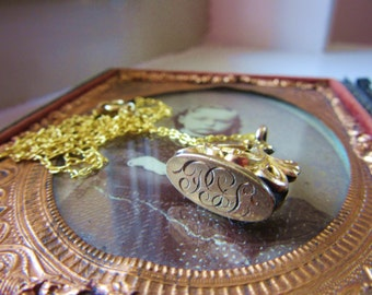 Antique Victorian Watchfob Goldfilled Seal Diamond Etched Monogrammed PGL