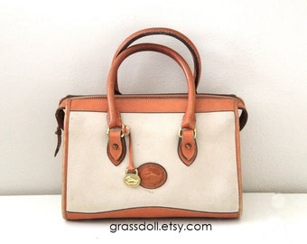 Dooney and Bourke Cream Pebble and British Tan Leather Trim Hand Bag , Tote , Dooney Boston Bag
