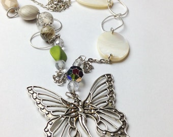 Lady butterfly asymmectrical necklace,handmade,jewelry,necklace,butterfly,asymmectrical,green,brown,fantasy,silver,long,jewelsbynanna