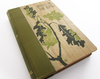 Tennyson Idylls of the King- Antique Poetry Book Crowell 1890 Victorian 1800s Romantic Camelot Lancelot King Arthur Poem Oak Forest Leaf