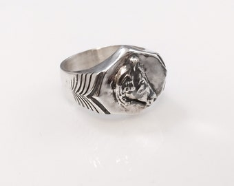 Ezi zino signet wild Mexican Horse Solid Sterling Silver 925 ring