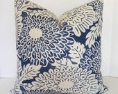 BOTH SIDES / Blue and White Imperial Bloom Pillow Cover / Chinoiserie Pillow / Asian Toile Pillow / 18x18 20x20 22x22 24x24 26x26