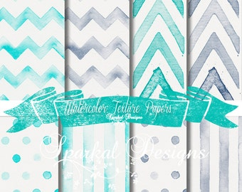 Rustic WaterColor Paper, Digital Watercolor Backgrounds, Teal and Grey Digital Papers, Faded Chevron Paper, Polka Dot Paper, Striped Paper