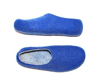 Felted Wool Slippers Mens Slippers Wool House Shoes 100% wool Blue Cobalt Marl Grey Men's sizes  Rubber sole slippers