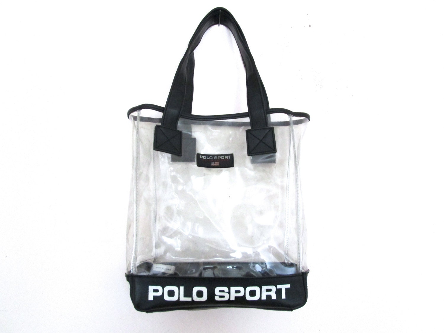 90 S Polo Sport Clear Plastic Shoulder Tote