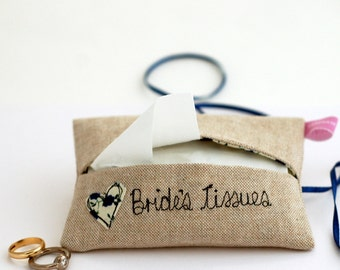 Tissue Holder - Something Blue For Bride - Wedding Day Bride Gift For Bride - Happy Tears - Gift For Bride From Bridesmaid, Bride To Be