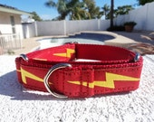 "Martingale Collar Red Lightning Bolt 1"" width collar - see side release buckle collar listing within"