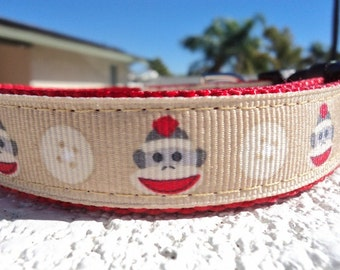 """Sale Small Dog Collar Sock Monkey 3/4"""" Side Release collar adjustable - see 1.5"""" listing withing"""