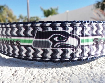 """Seattle Seahawks Dog Collar, 3/4"""" or 1"""" Quick Release or Martingale collar - NFL- see details for info - S - xl, incl dogs  measurement/s"""