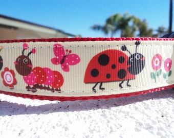 """Sale Dog Collar, Ladybugs, & Friends 1"""" width Quick Release buckle or Martingale collar style"""