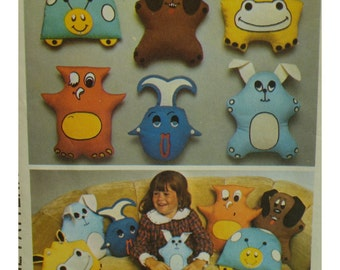 70s Funky Cushions Pattern, Childs Toy, Puppets, Animals, Owl, Hippo, Ladybug, Fish, Dog, Rabbit, Simplicity No. 7228 UNCUT
