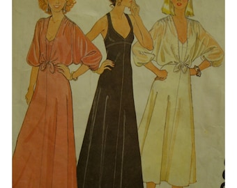 "70s Slip Dress Pattern, Sundress, Stretch Fabric, Empire Waist, Straps, Tie Waist Cover Up, McCalls No. 6396 Size 12 (Bust 34"" 87cm)"