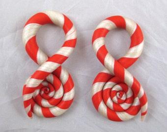 Peppermint Swirl Gauged Earrings