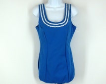 Bright Blue Swim Suit Vintage 1960s Carol Brent One Piece, New Old Stock Size Large