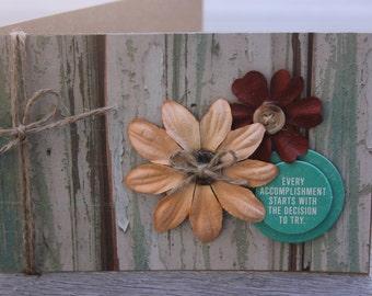 Inspirational Card, Rustic Encouragement Card, Woodgrain Motivational Card, Rustic Inspirational Card