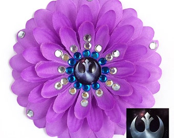 Rebel Alliance Purple Penny Blossom Rhinestone Flower Barrette