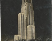 Cathedral of Learning at Night Pittsburg PA 1932 Cancel Real Photo Postcard Vintage Postcard