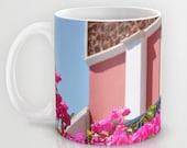Art Coffee Cup Mug Lovely Santorini fine art Modern Landscape photography home decor Java Lovers Hot pink flowers Light Aqua blue photo
