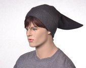 Charcoal Gray Elf Hat Short Pointed Stocking Cap Mens Sock Beanie Winter Fleece Hat Costume Hat