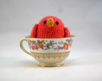 Hand Knit Coral Pink Bird Ready To Ship