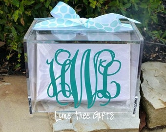Monogram Recipe Box with 60 Blank cards