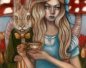 Alice and the March Hare Wonderland mushrooms whimsical 8x10 fine art print