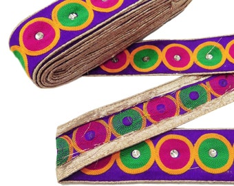 "Indian Designer Circle Pattern Jacquard Ribbon Trim Purple Embroidered Lace 2"" Wide Sewing Apparel Indian Sari Border Tape By 1 Yard RT786A"