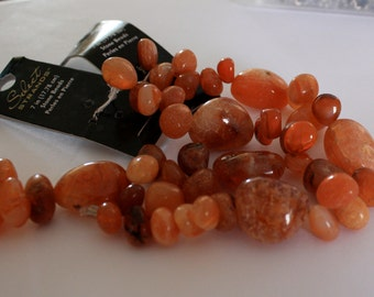 Carnelian Gemstone Beads-Red Agate-Teardrop Beads-7 Inch Bead Strand-Irregular Nugget Beads-Beading Supplies-Loose Beads-27 Beads per Strand