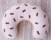 Pink Donut Nursing Pillow Cover with Chocolate Brown Sprinkles - Donut Boppy Cover
