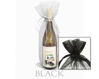 Set of 10 Black Organza Wine Bottle Bags, 6.5 x 15 Inches