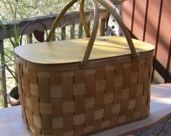 Large Picnic Basket - Rustic Storage Box - Family Size - Dated 1978 - Oak Hill Vintage