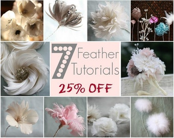 7 Feather Flower Tutorials, How To Make Feather Flowers, Feather Flower Pattern, DIY Flowers, Flower Home Decor, DIY Home Decor, Home Decor