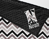 CHEVRON MINKY PERSONALIZED Baby Stroller Blanket with Your Choice of Colors - Name and appliqued initial