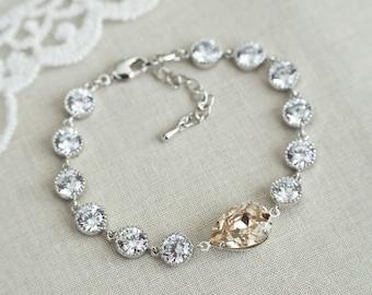 Gold Champagne Bracelet, Light Silk, Wedding Champagne Swarovski Teardrop and Cubic Zirconia Bracelet, Bridal Bracelet, Bridesmaids Bracelet
