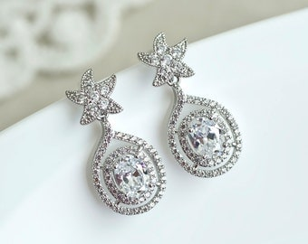 Starfish Earrings, Starfish Bridal Earrings, White Cubic Zirconia Starfish Bridal Earrings, Beach Theme Wedding, Wedding Destination