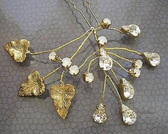 Crystal leaf hair pin, Gold Leafs wedding hair pin, Golden Leaf hair vine, bridal Golden Leaf Hair pin, Greek Goddess hair accessories,