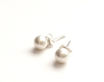 Sterling Silver Dainty White Pearl Posts Earrings- bridal bridesmaids jewelry, simple classic everyday style.