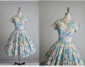 50's Novelty Dress // Vintage 1950's Novelty Abstract Expressionist Art Print Full Cotton Garden Party Dress S