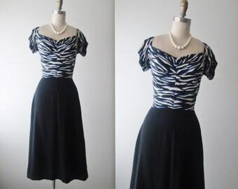 40's Dress // Vintage 1940's Black Blue Abstract Print Rayon Dress XS