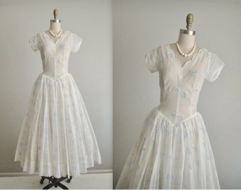 50's Flocked Floral Chiffon Dress // Vintage 1950's Flocked Blue Rose Chiffon Prom Wedding Party Dress S